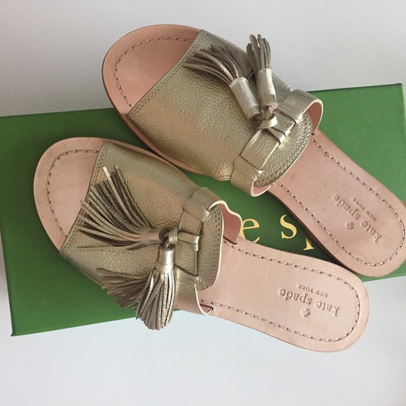 9f5024fe7 Kate Spade Gold Leather Coby Sandal